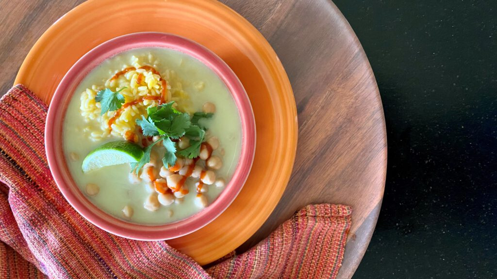 Healing Chickpea + Orzo Bowl in Ginger Broth