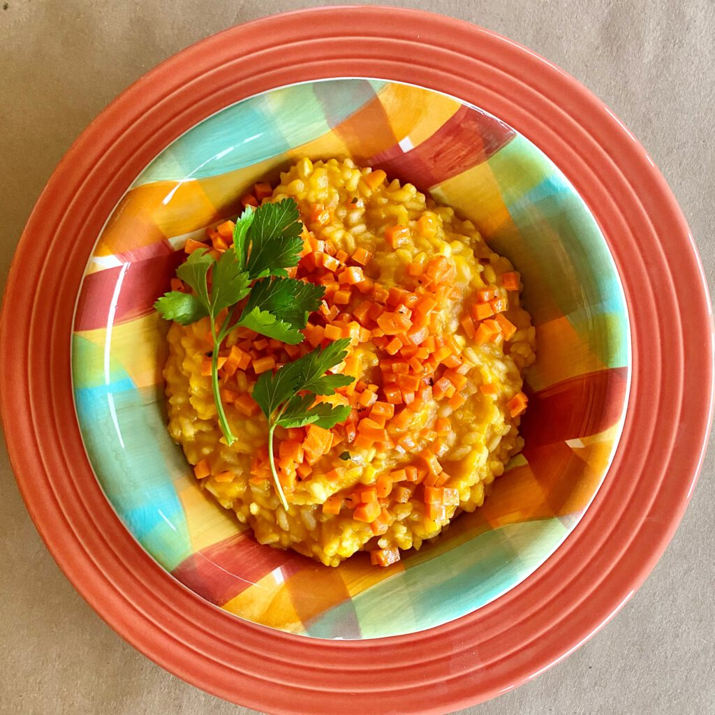 Carrot risotto in a bowl