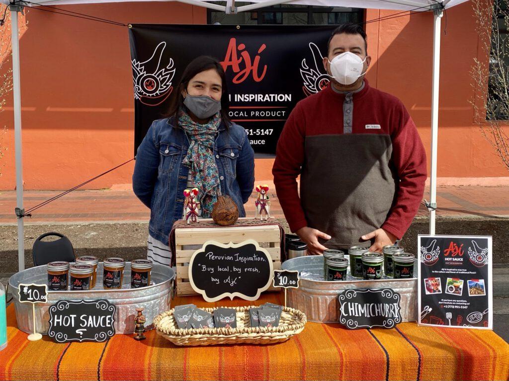 Peruvian sauce vendors at LCFM