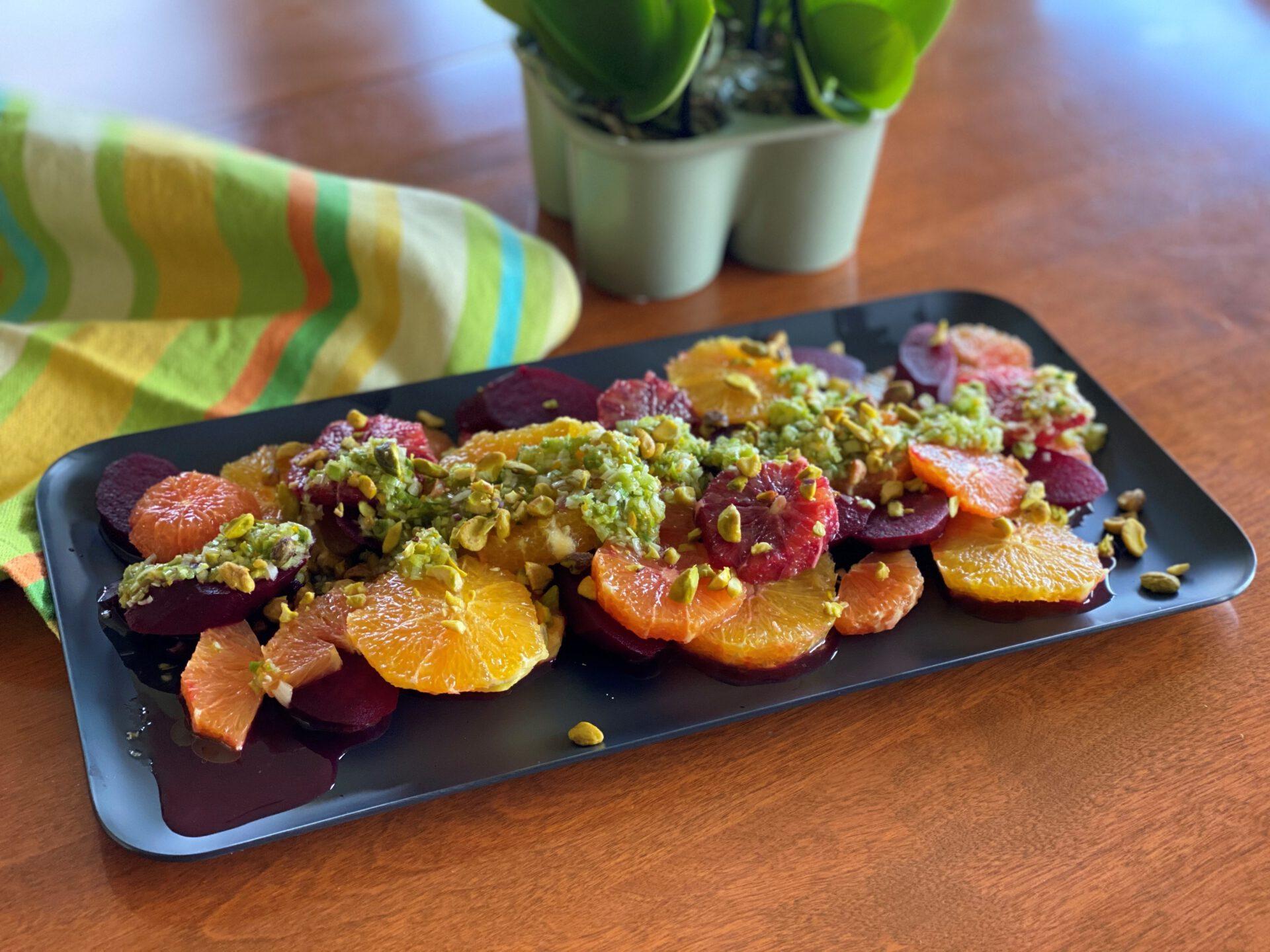beet orange salad on platter