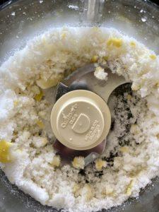 lemon and sugar in food processor
