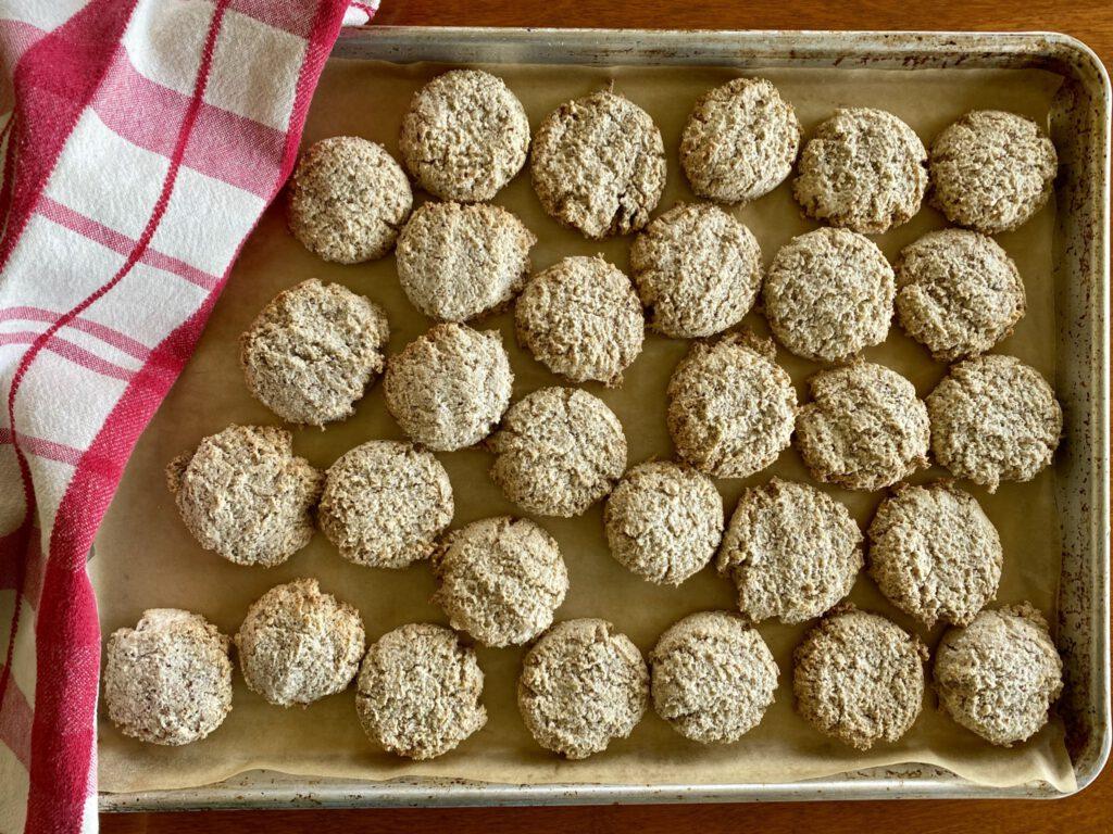 hazelnut meringue cookies on a baking sheet