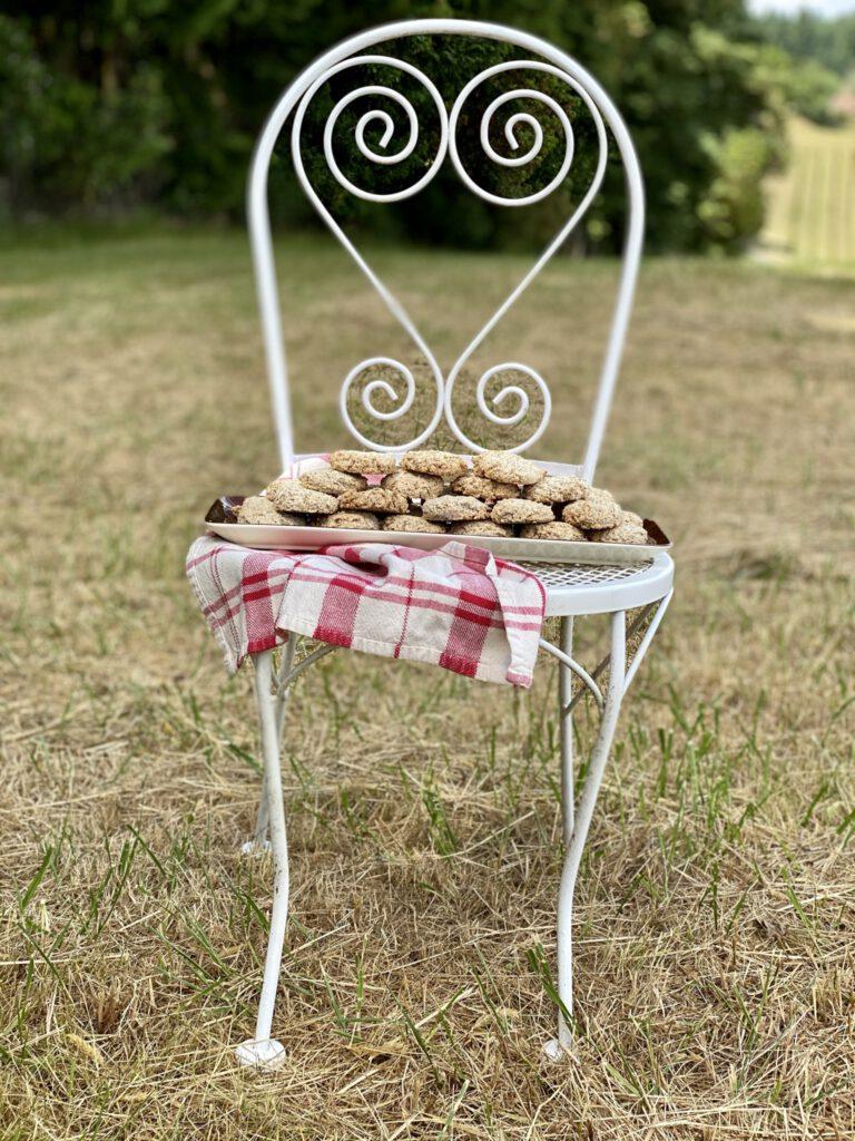 hazelnut cookies on chair in field
