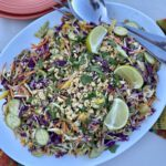 Cold Noodle Salad with peanut sauce on a platter