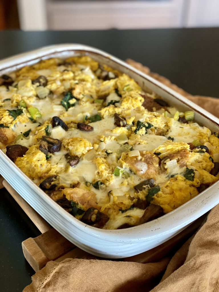 Savory Pumpkim Bread Pudding in a baking dish.